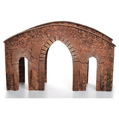 Bridge in cork for nativities measuring 25x40x12cm 3