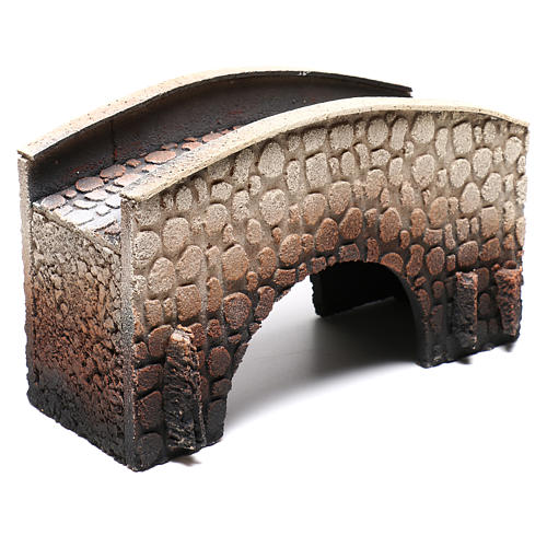 Bridge in cork, arched, for nativities 16x25x11cm 3