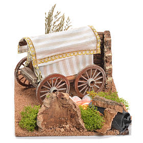 Bandwagon with fire for nativity scene, measuring 22x26x40cm s2
