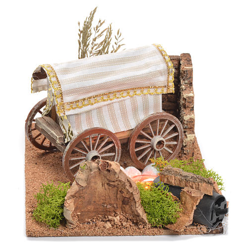 Bandwagon with fire for nativity scene, measuring 22x26x40cm 2