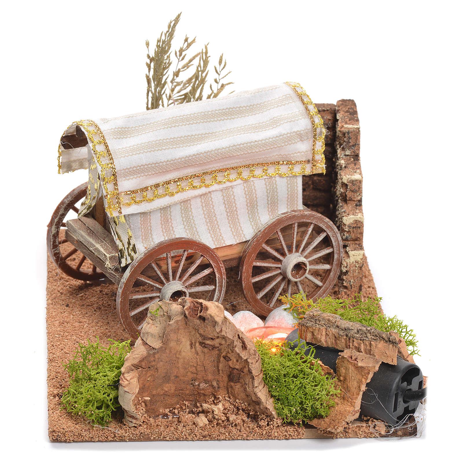 Caravana belén con fuego 22x26x40 cm 4