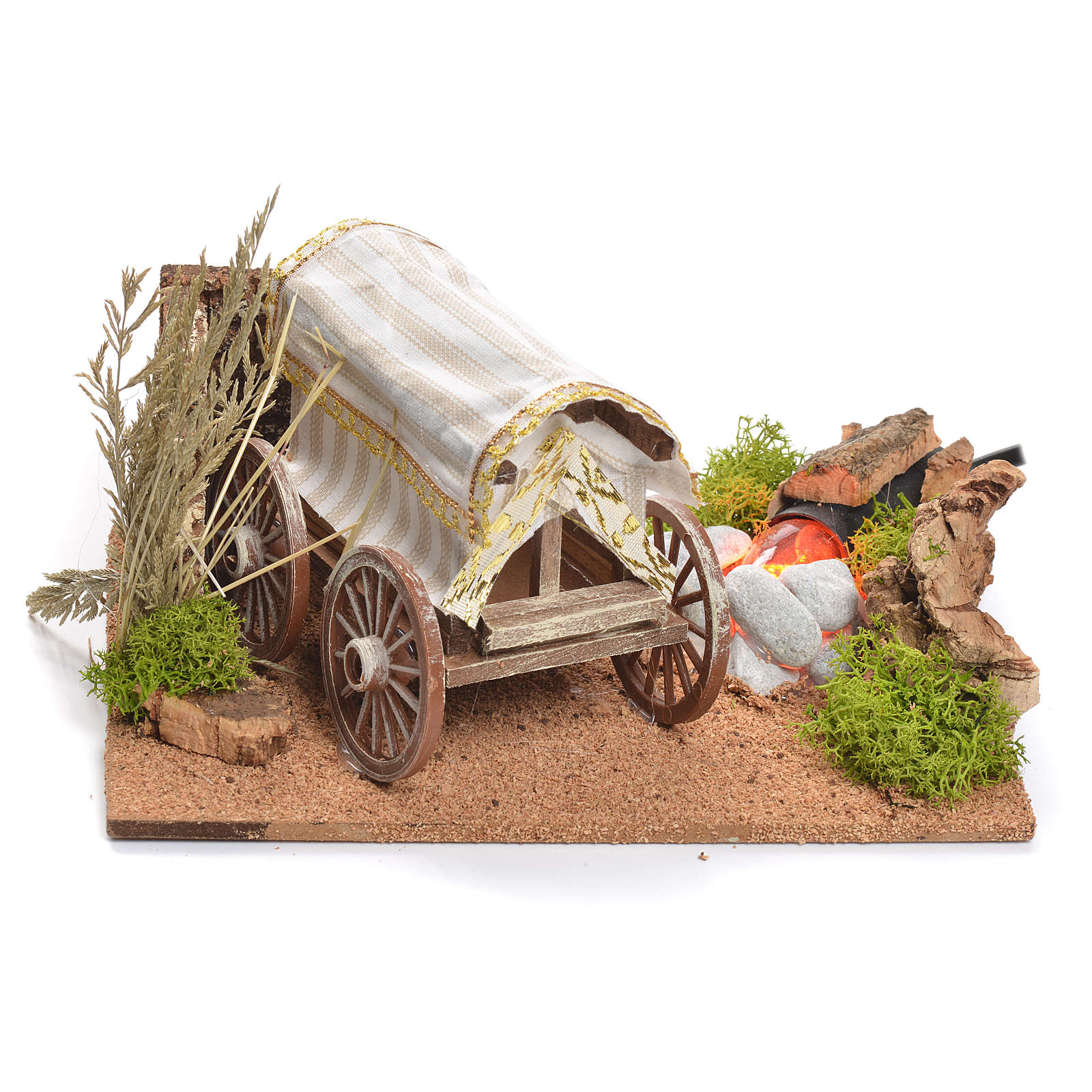 Bandwagon with fire for nativity scene, measuring 22x26x40cm 4