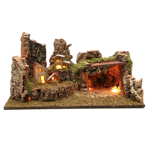 Nativity grotto with landscape and lights 28x58x32cm 1