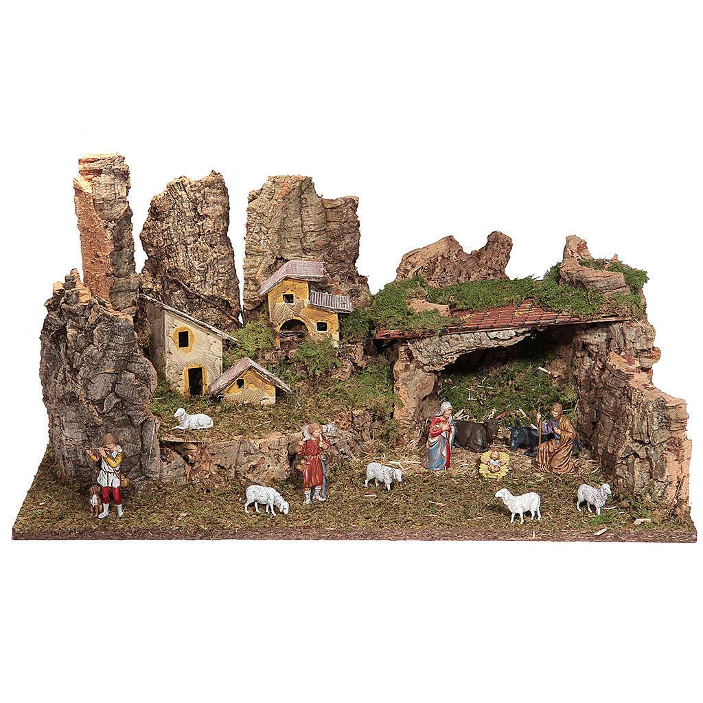 Cueva belén con paisaje y luces 28x58x32 cm 4