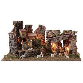 Grotta presepe con paesaggio e luci 28x58x32 cm s1