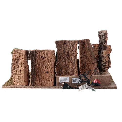 Grotta presepe con paesaggio e luci 28x58x32 cm 6
