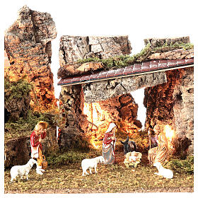 Nativity grotto with landscape and lights 28x58x32cm s2