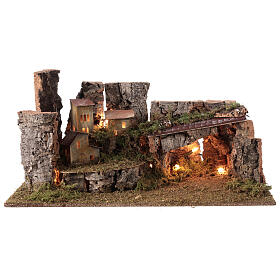 Nativity grotto with landscape and lights 28x58x32cm s5