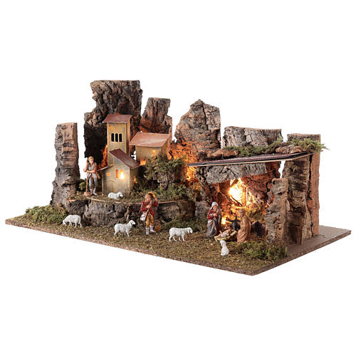 Nativity grotto with landscape and lights 28x58x32cm 3