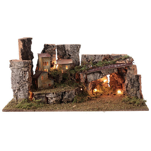 Nativity grotto with landscape and lights 28x58x32cm 5