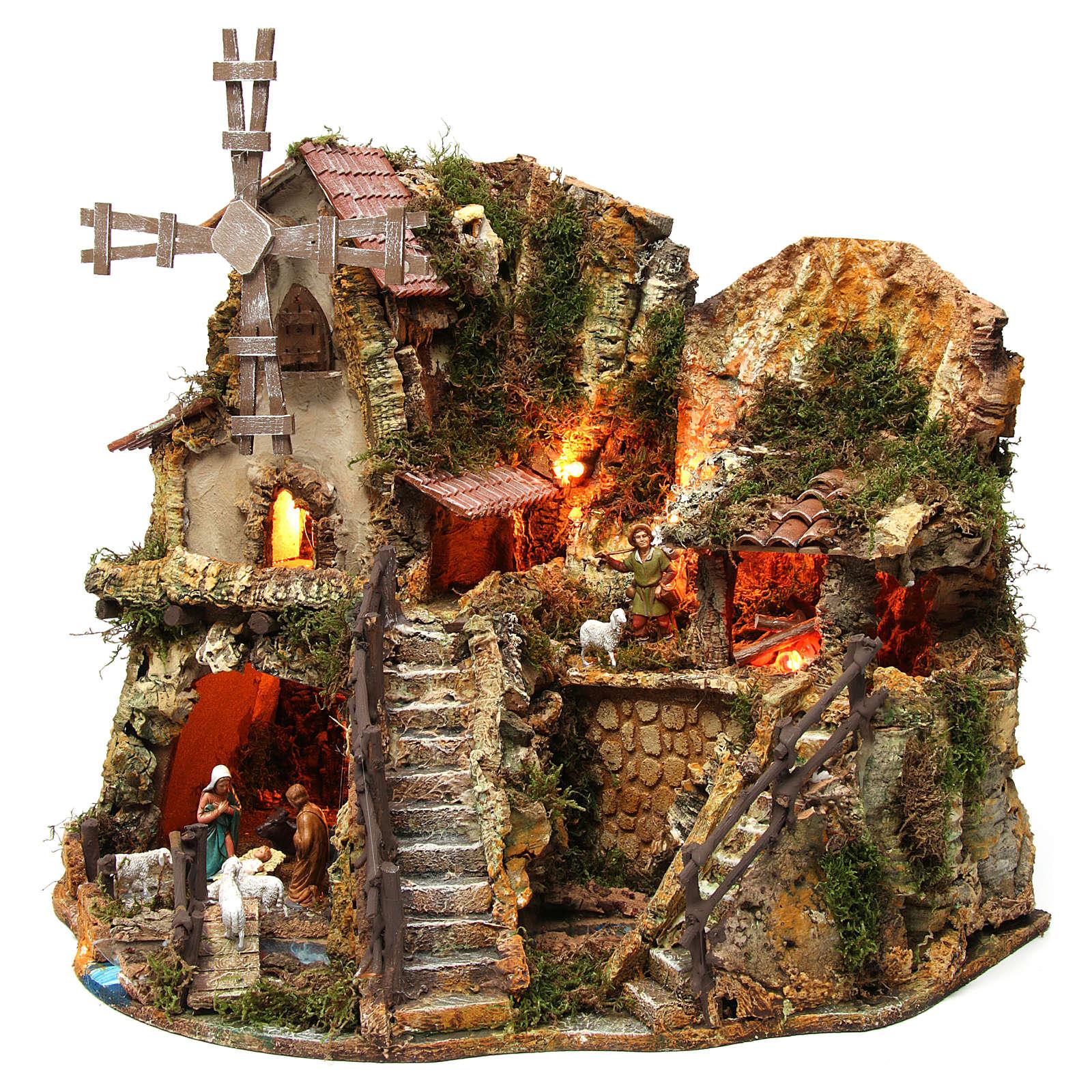 Dorf mit Mühle und Häuser mit Licht 42x59x35cm 4
