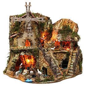 Krippe Hütten und Grotten: Dorf mit Mühle und Häuser mit Licht 42x59x35cm