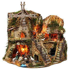 Étables crèche et Grottes: Bourg avec cabane illuminée maisons moulin 42x59x35 cm