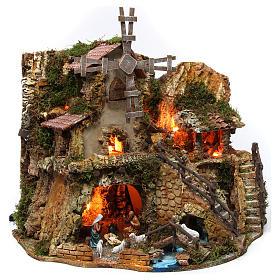 Borgo con capanna illuminata case mulino 42x59x35 cm s4