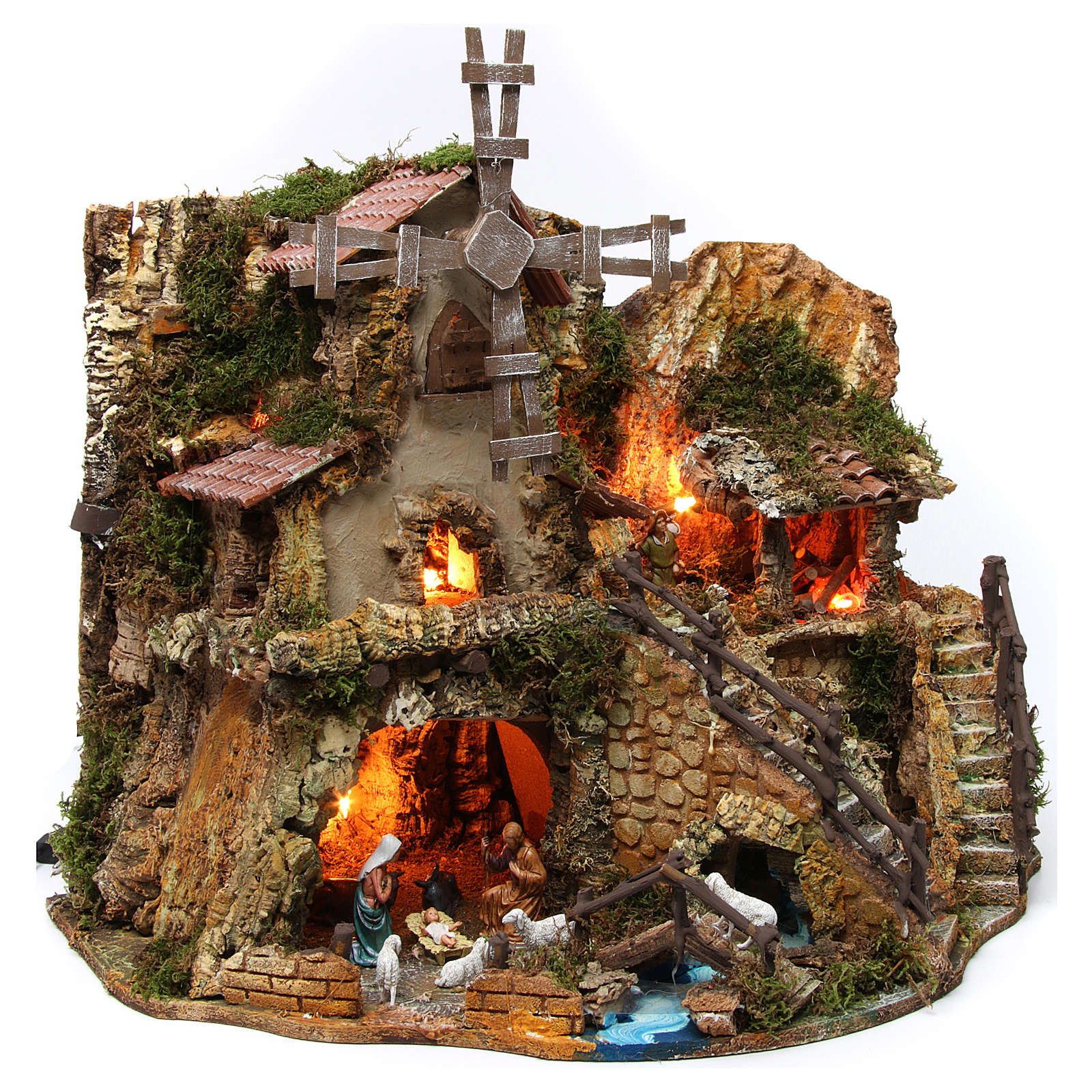 Illuminated nativity setting with stable, houses and mill 42x59x35cm 4