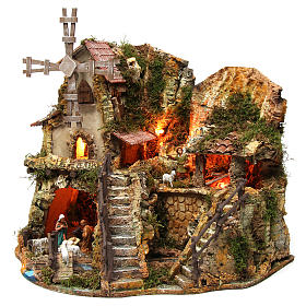 Illuminated nativity setting with stable, houses and mill 42x59x35cm s3