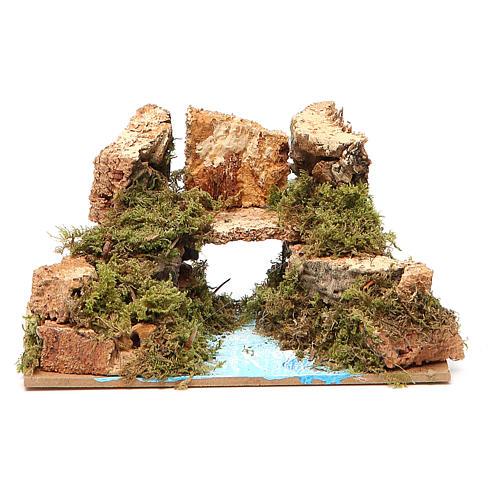 Bridge on river, assorted models for nativities 8x15x10cm 3