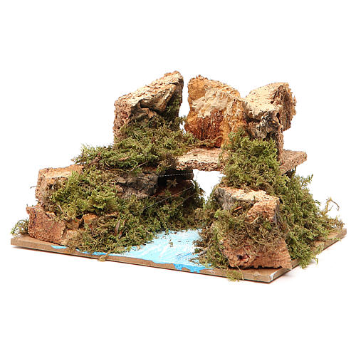 Bridge on river, assorted models for nativities 8x15x10cm 4