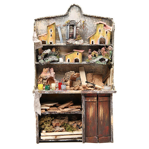 Nativity artist stall, miniature for nativities measuring 40x24x8.5cm 1