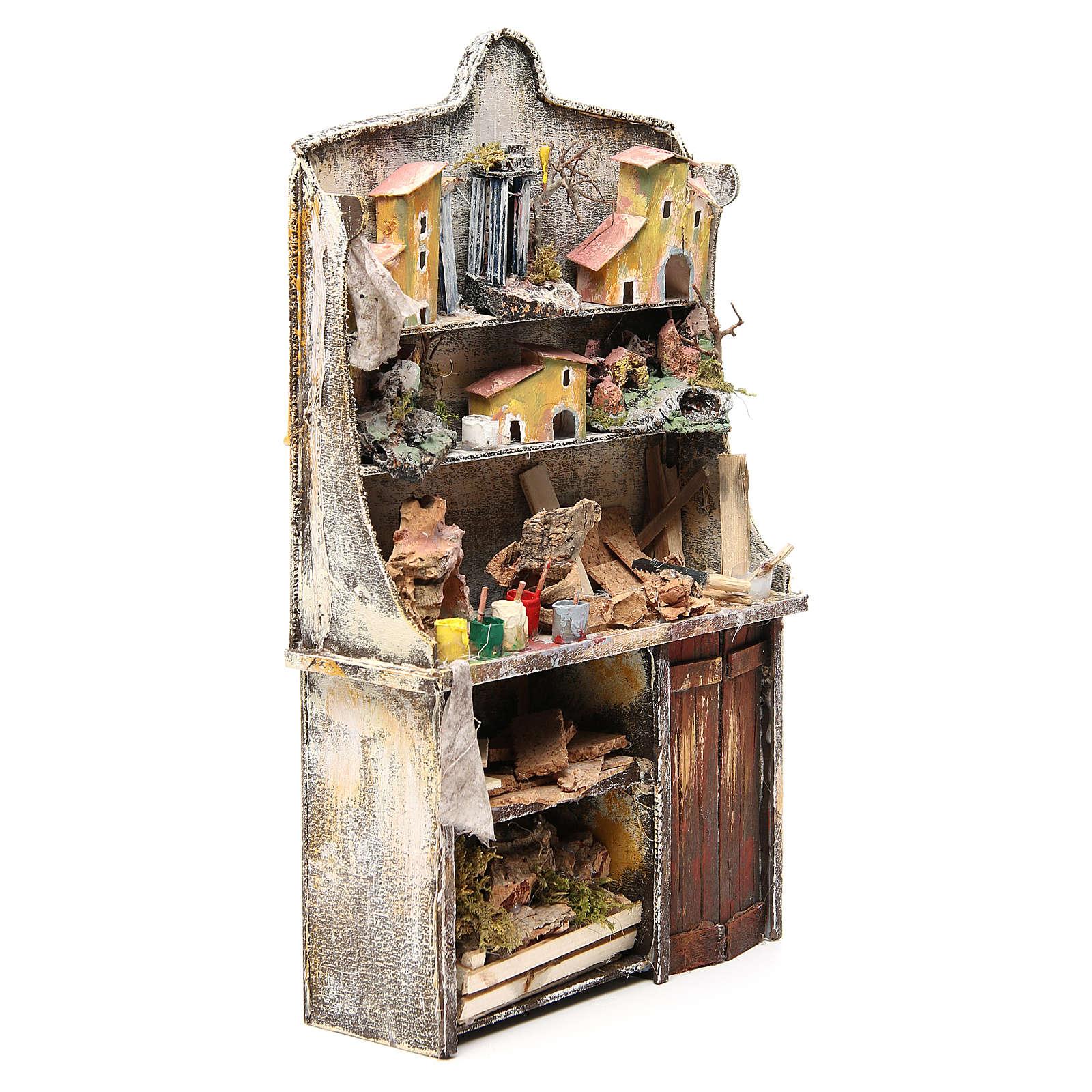 Nativity artist stall, miniature for nativities measuring 40x24x8.5cm 4