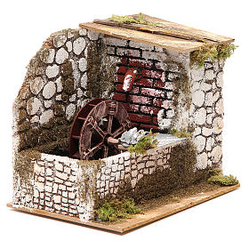 Water mill in wood and cork for nativities measuring 17x20x14cm s3