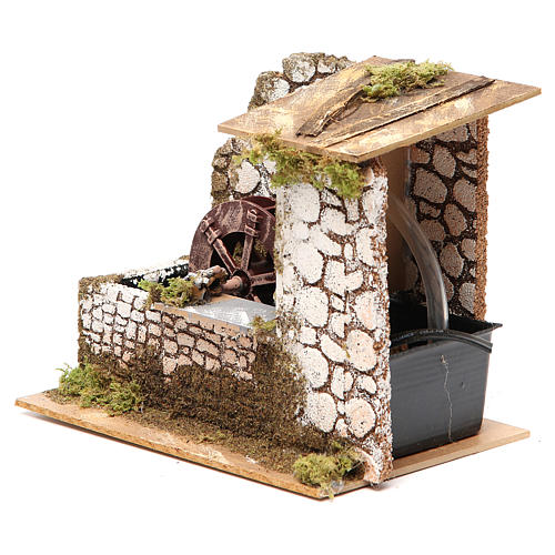 Water mill in wood and cork for nativities measuring 17x20x14cm 2