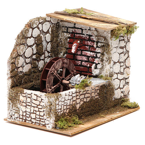 Water mill in wood and cork for nativities measuring 17x20x14cm 3
