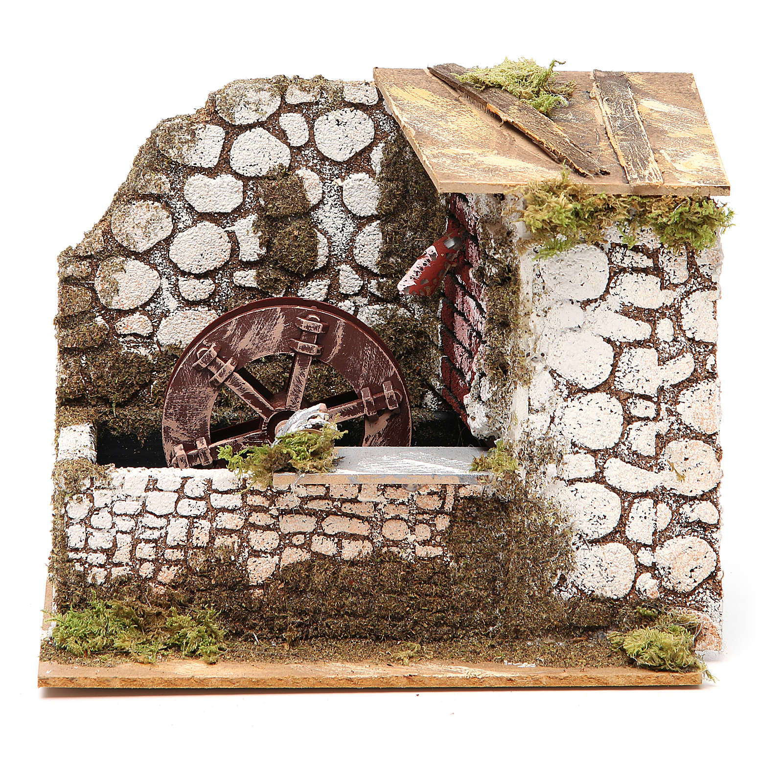 Water mill in wood and cork for nativities measuring 17x20x14cm 4