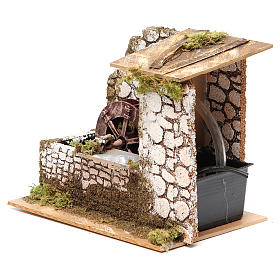 Water mill in wood and cork for nativities measuring 17x20x14cm s2