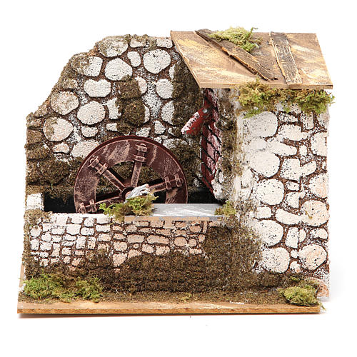 Water mill in wood and cork for nativities measuring 17x20x14cm 1