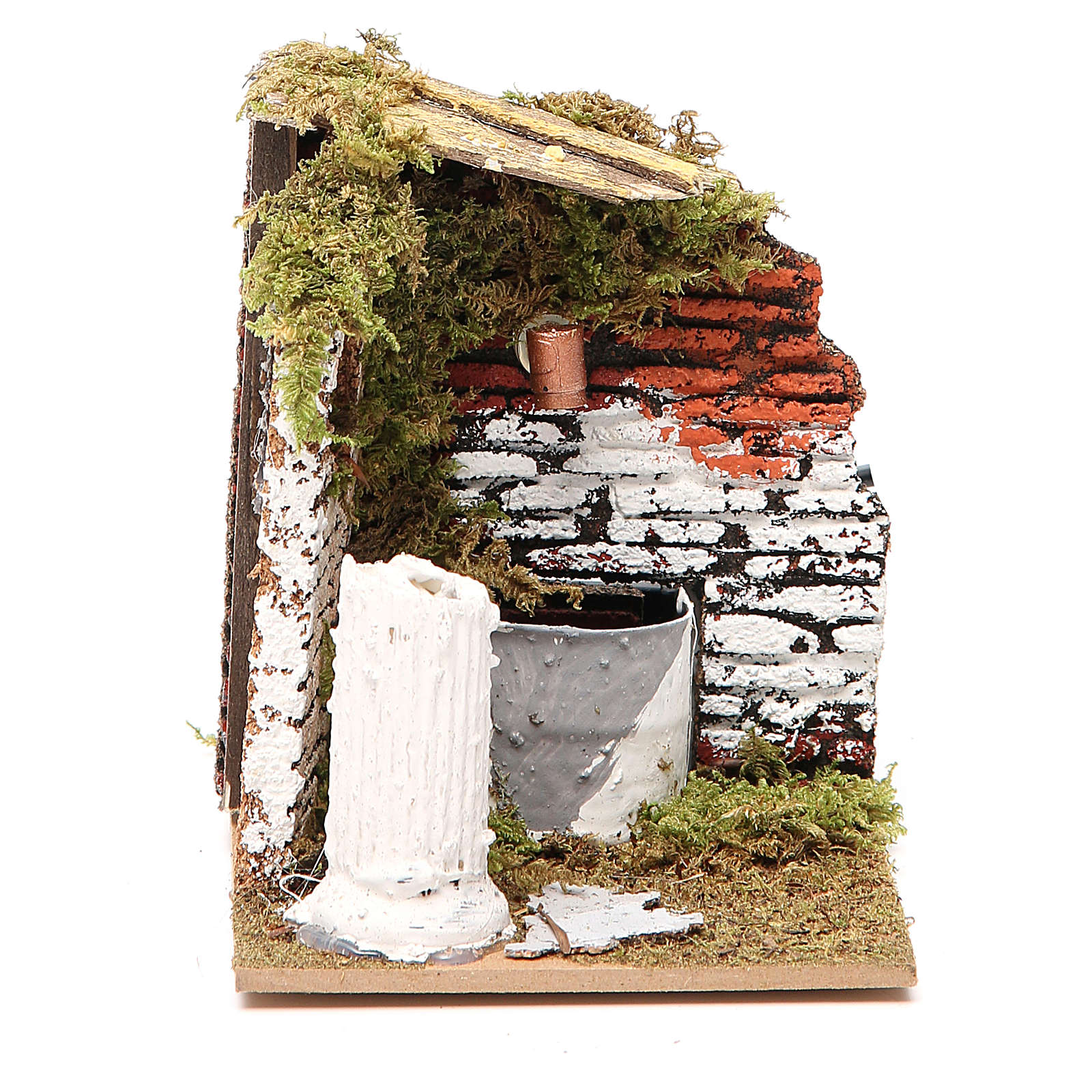 Fontana presepe legno e sughero 12x15x10 cm modelli assortiti 4