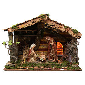 Illuminated stable with Holy Family for nativities, 55x76x40cm s1