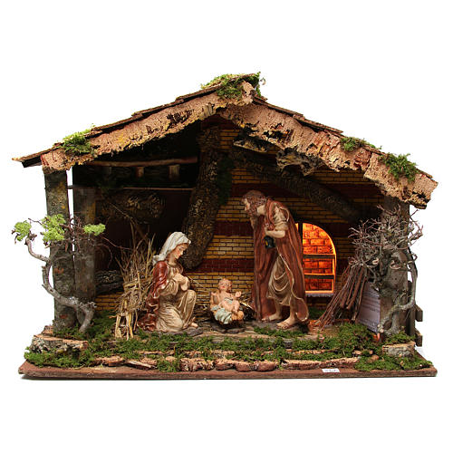 Illuminated stable with Holy Family for nativities, 55x76x40cm 1