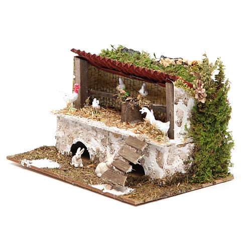 Stable for nativities with hens and rabbits measuring 12x20x14cm 2