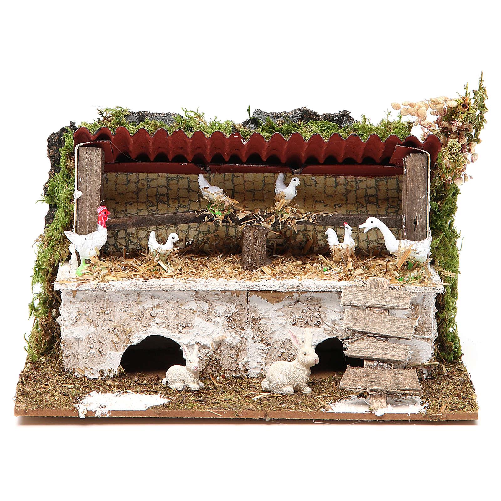Establo belén con pollos y conejos 12x20x14 cm 4