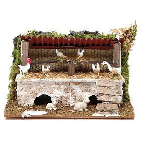 Establo belén con pollos y conejos 12x20x14 cm s1