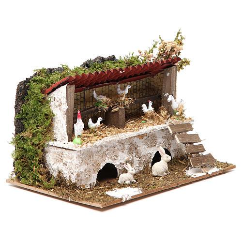 Establo belén con pollos y conejos 12x20x14 cm 3