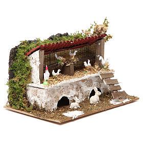 Étable crèche avec poules et lapins 12x20x14 cm s3