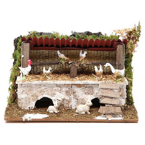Stalla presepe con polli e conigli 12x20x14 cm 1