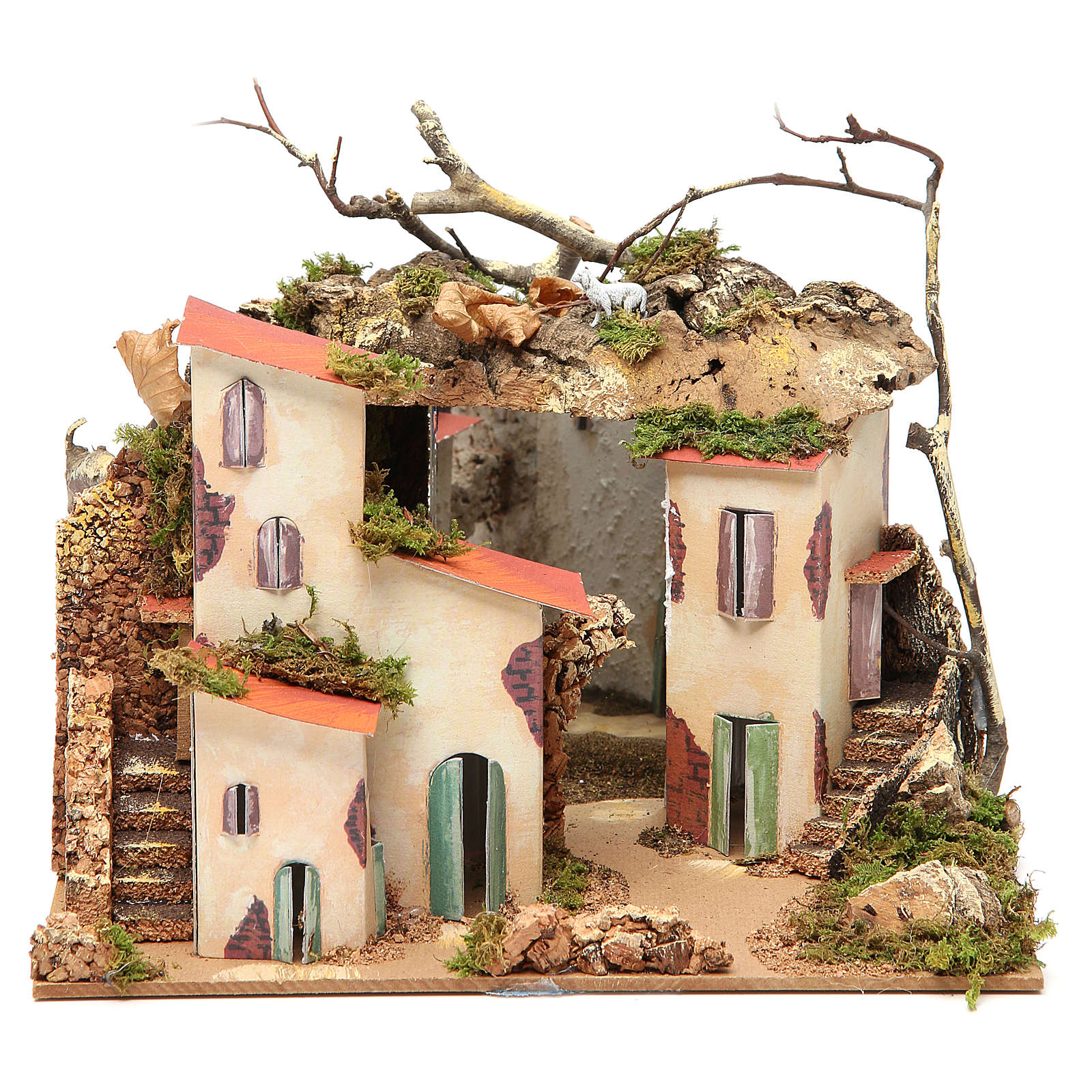 Setting for nativities with mirror measuring 23x24x21cm 4