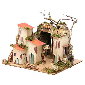 Setting for nativities with mirror measuring 23x24x21cm s2