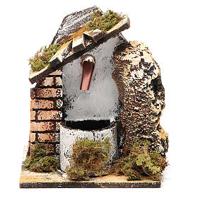 Fountain for nativities in wood and cork 14x11x11cm, assorted models s4