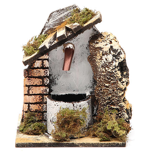 Fountain for nativities in wood and cork 14x11x11cm, assorted models 4