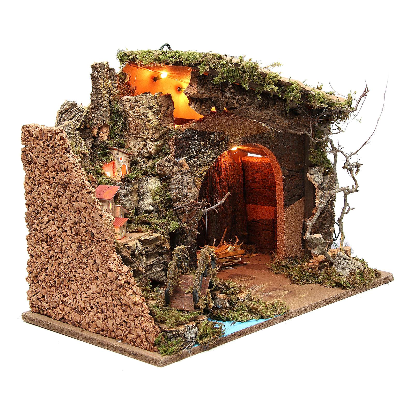 Cabaña iluminada belén con aldea 36x50x26 cm 4