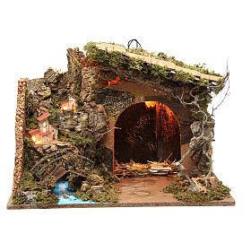 Cabane illuminée crèche avec bourgade 36x50x26 cm s1