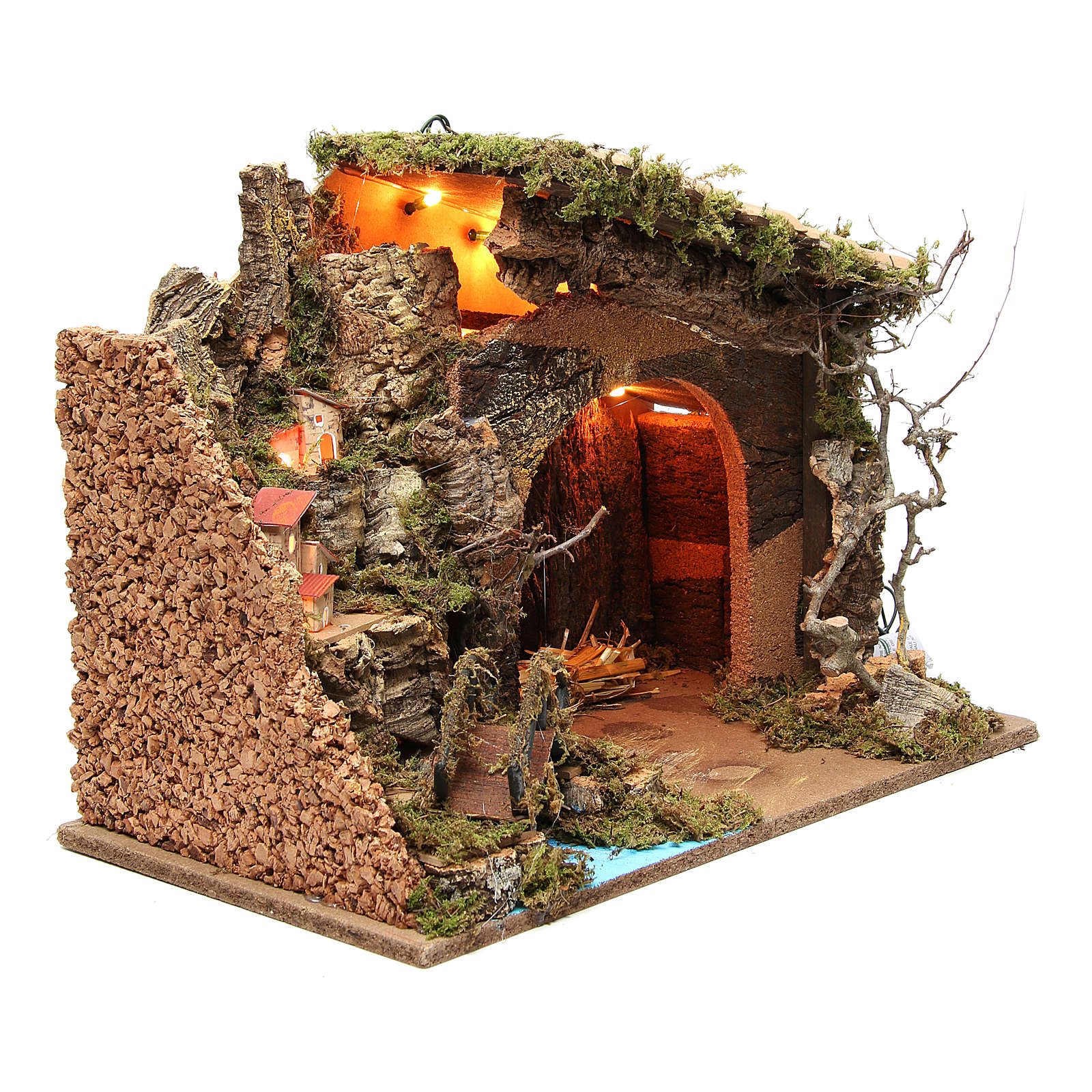 Illuminated stable with village for nativities, 36x50x26cm 4