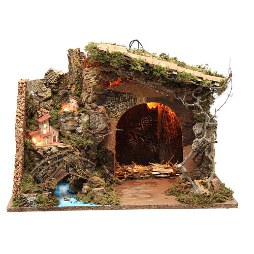 Illuminated stable with village for nativities, 36x50x26cm 1