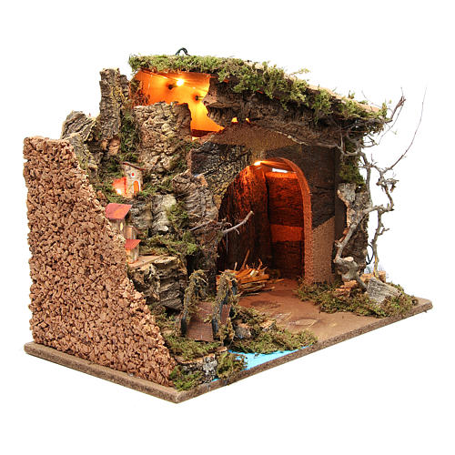 Illuminated stable with village for nativities, 36x50x26cm 3