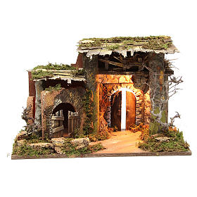 Stables and grottos: Illuminated stable setting for nativities, 36x50x26cm