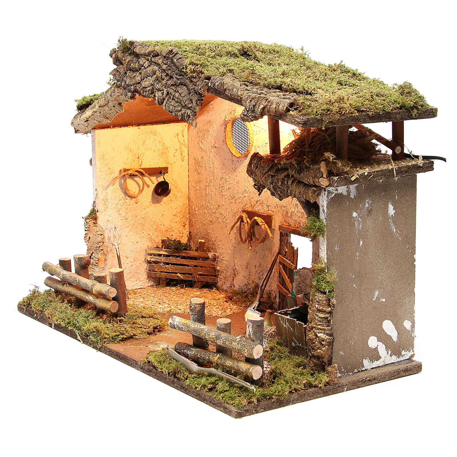 Nativity rural stable with lights, 36x50x26cm with pub and fountain 4